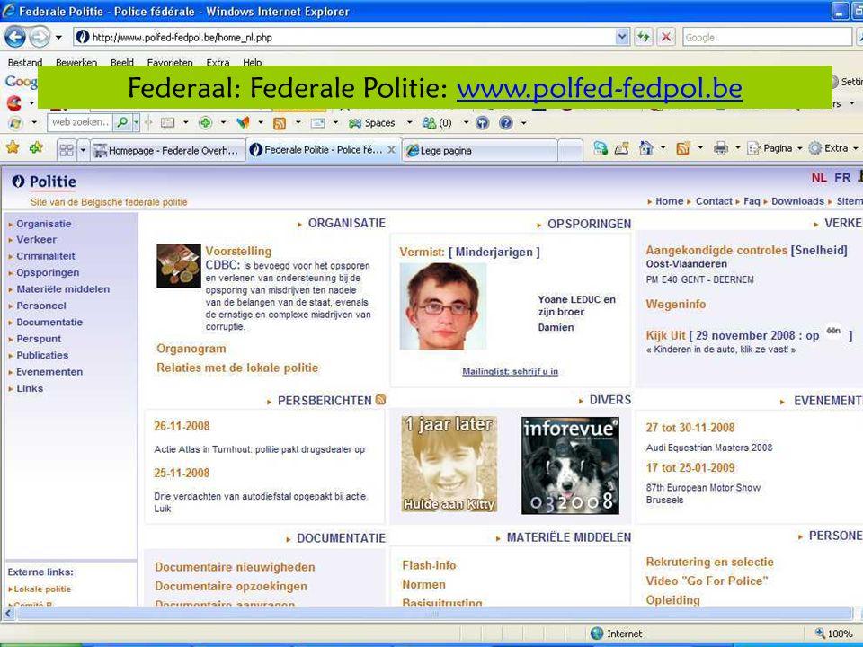 Deze presentatie mag noch geheel, noch gedeeltelijk worden gebruikt of gekopieerd zonder de schriftelijke toestemming van Seniornet Vlaanderen VZW maart 2009 EID en e-government 13 Federaal: Federale Politie: www.polfed-fedpol.bewww.polfed-fedpol.be