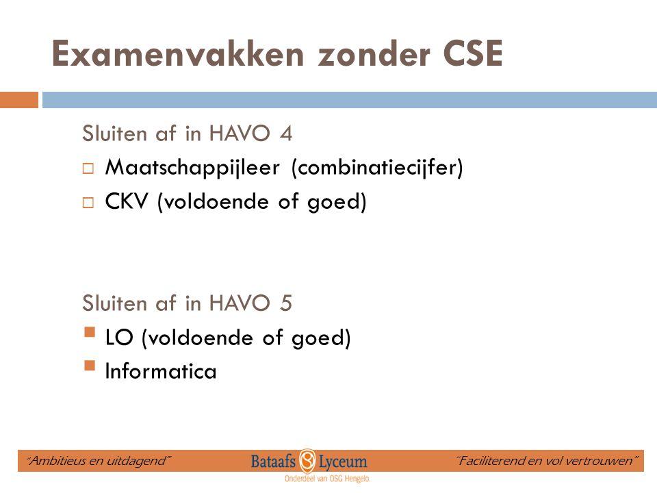 Examenvakken zonder CSE Sluiten af in HAVO 4  Maatschappijleer (combinatiecijfer)  CKV (voldoende of goed) Sluiten af in HAVO 5  LO (voldoende of goed)  Informatica Ambitieus en uitdagend Faciliterend en vol vertrouwen