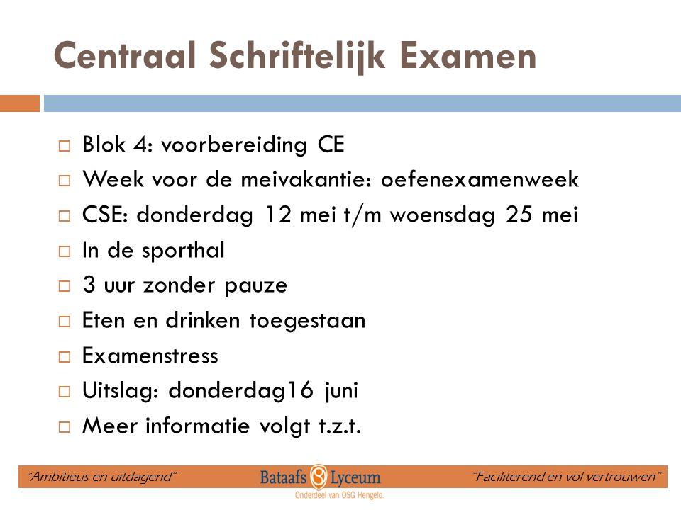 Centraal Schriftelijk Examen  Blok 4: voorbereiding CE  Week voor de meivakantie: oefenexamenweek  CSE: donderdag 12 mei t/m woensdag 25 mei  In d
