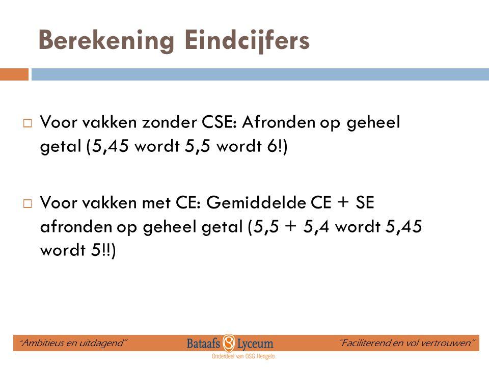 Berekening Eindcijfers  Voor vakken zonder CSE: Afronden op geheel getal (5,45 wordt 5,5 wordt 6!)  Voor vakken met CE: Gemiddelde CE + SE afronden op geheel getal (5,5 + 5,4 wordt 5,45 wordt 5!!) Ambitieus en uitdagend Faciliterend en vol vertrouwen