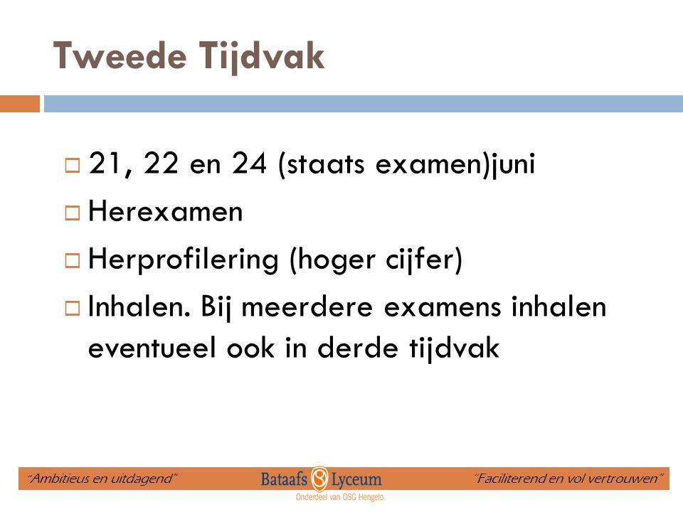 Tweede Tijdvak  21, 22 en 24 (staats examen)juni  Herexamen  Herprofilering (hoger cijfer)  Inhalen. Bij meerdere examens inhalen eventueel ook in