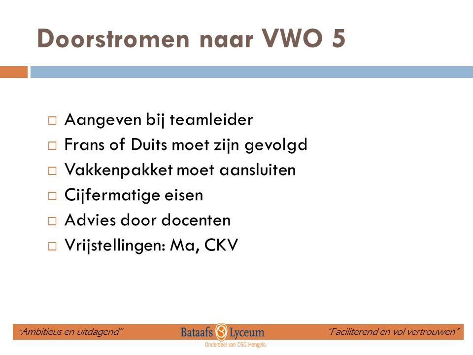 Doorstromen naar VWO 5  Aangeven bij teamleider  Frans of Duits moet zijn gevolgd  Vakkenpakket moet aansluiten  Cijfermatige eisen  Advies door docenten  Vrijstellingen: Ma, CKV Ambitieus en uitdagend Faciliterend en vol vertrouwen