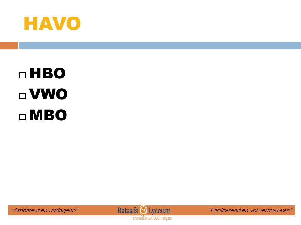 """HAVO  HBO  VWO  MBO """" Ambitieus en uitdagend"""" """"Faciliterend en vol vertrouwen"""""""