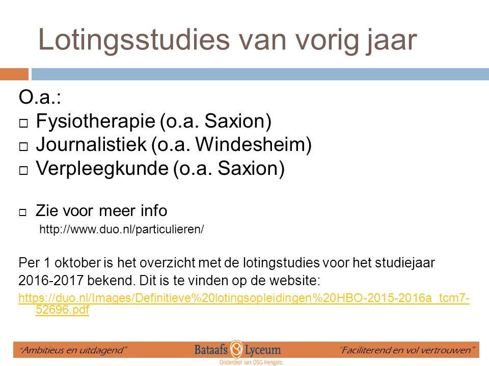 Lotingsstudies van vorig jaar O.a.:  Fysiotherapie (o.a. Saxion)  Journalistiek (o.a. Windesheim)  Verpleegkunde (o.a. Saxion)  Zie voor meer info