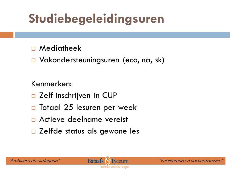 Studiebegeleidingsuren  Mediatheek  Vakondersteuningsuren (eco, na, sk) Kenmerken:  Zelf inschrijven in CUP  Totaal 25 lesuren per week  Actieve