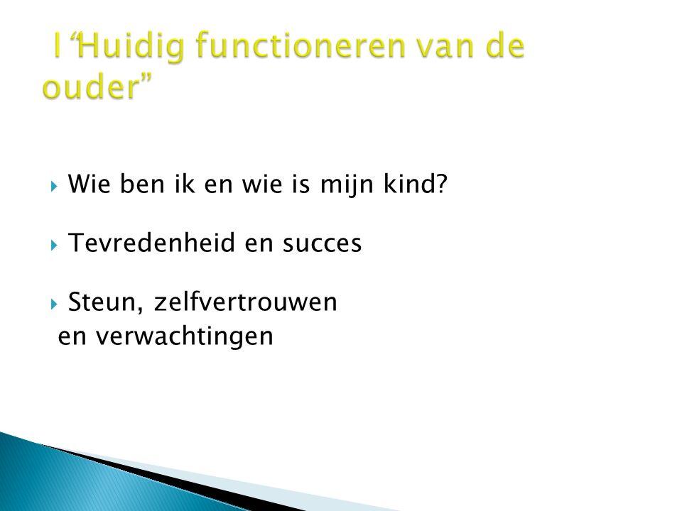  Wie ben ik en wie is mijn kind?  Tevredenheid en succes  Steun, zelfvertrouwen en verwachtingen Lectoraat Rehabilitatie Groningen
