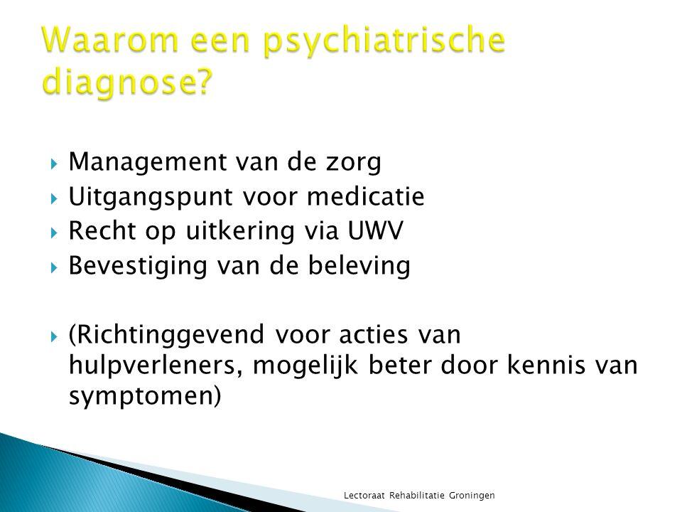  Management van de zorg  Uitgangspunt voor medicatie  Recht op uitkering via UWV  Bevestiging van de beleving  (Richtinggevend voor acties van hu