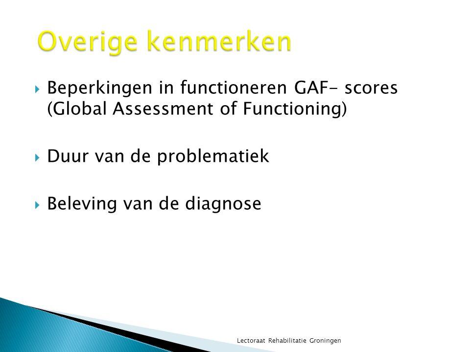  Beperkingen in functioneren GAF- scores (Global Assessment of Functioning)  Duur van de problematiek  Beleving van de diagnose Lectoraat Rehabilit
