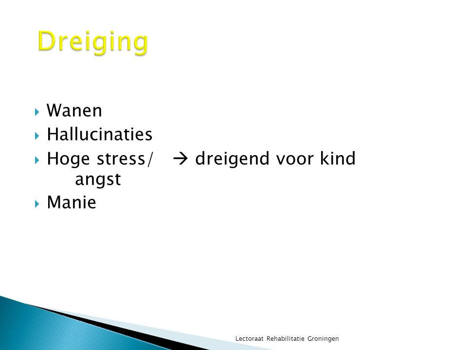  Wanen  Hallucinaties  Hoge stress/  dreigend voor kind angst  Manie Lectoraat Rehabilitatie Groningen