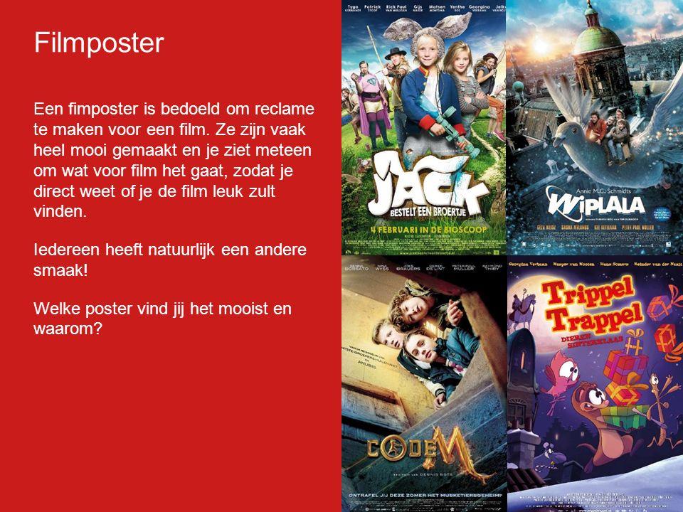 Filmp oster Een fimposter is bedoeld om reclame te maken voor een film.