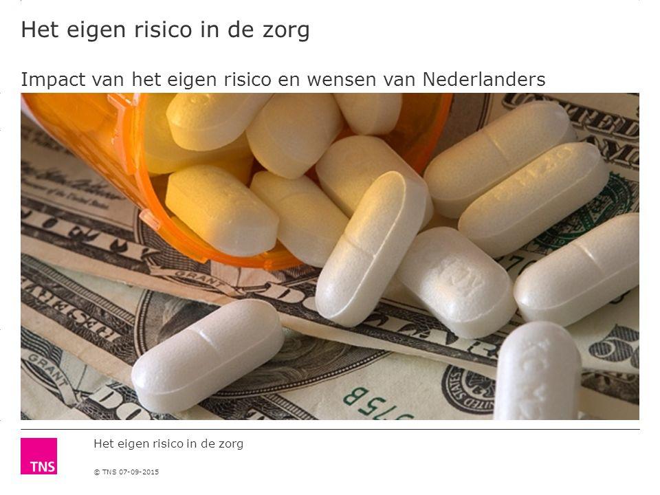 3.14 X AXIS 6.65 BASE MARGIN 5.95 TOP MARGIN 4.52 CHART TOP 11.90 LEFT MARGIN 11.90 RIGHT MARGIN Het eigen risico in de zorg © TNS 07-09-2015 Het eigen risico in de zorg Impact van het eigen risico en wensen van Nederlanders