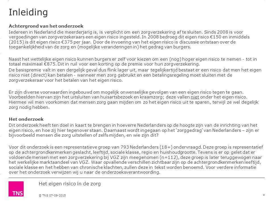 3.14 X AXIS 6.65 BASE MARGIN 5.95 TOP MARGIN 4.52 CHART TOP 11.90 LEFT MARGIN 11.90 RIGHT MARGIN Het eigen risico in de zorg © TNS 07-09-2015 Inleiding Achtergrond van het onderzoek Iedereen in Nederland die meerderjarig is, is verplicht om een zorgverzekering af te sluiten.