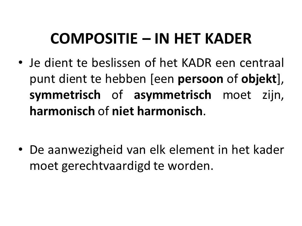 COMPOSITIE – IN HET KADER Je dient te beslissen of het KADR een centraal punt dient te hebben [een persoon of objekt], symmetrisch of asymmetrisch moet zijn, harmonisch of niet harmonisch.