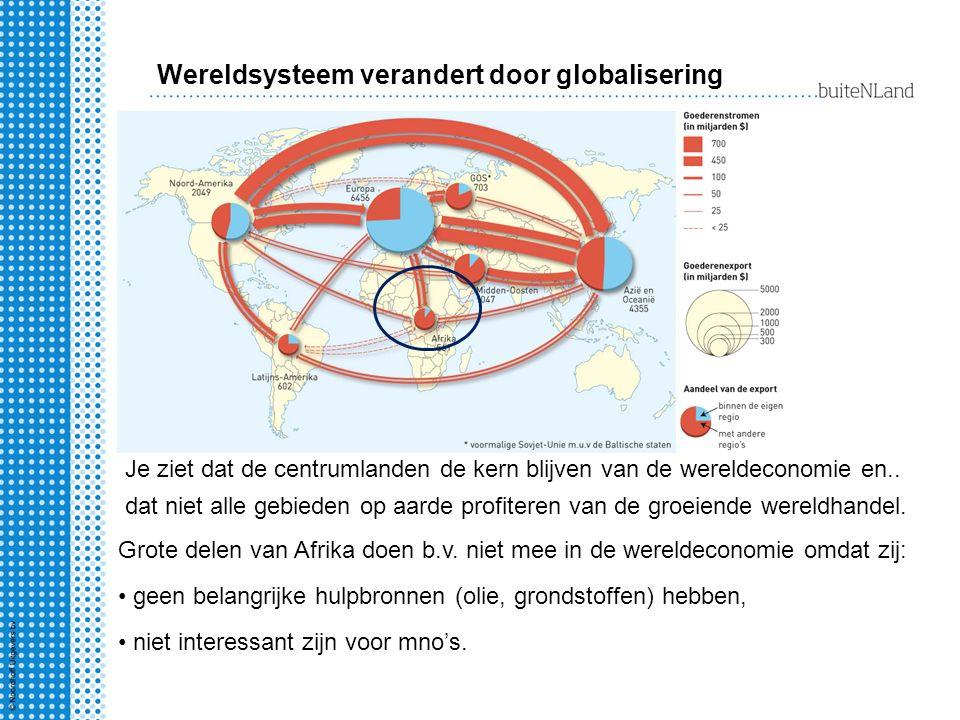 Je ziet dat de centrumlanden de kern blijven van de wereldeconomie en.. dat niet alle gebieden op aarde profiteren van de groeiende wereldhandel. Grot