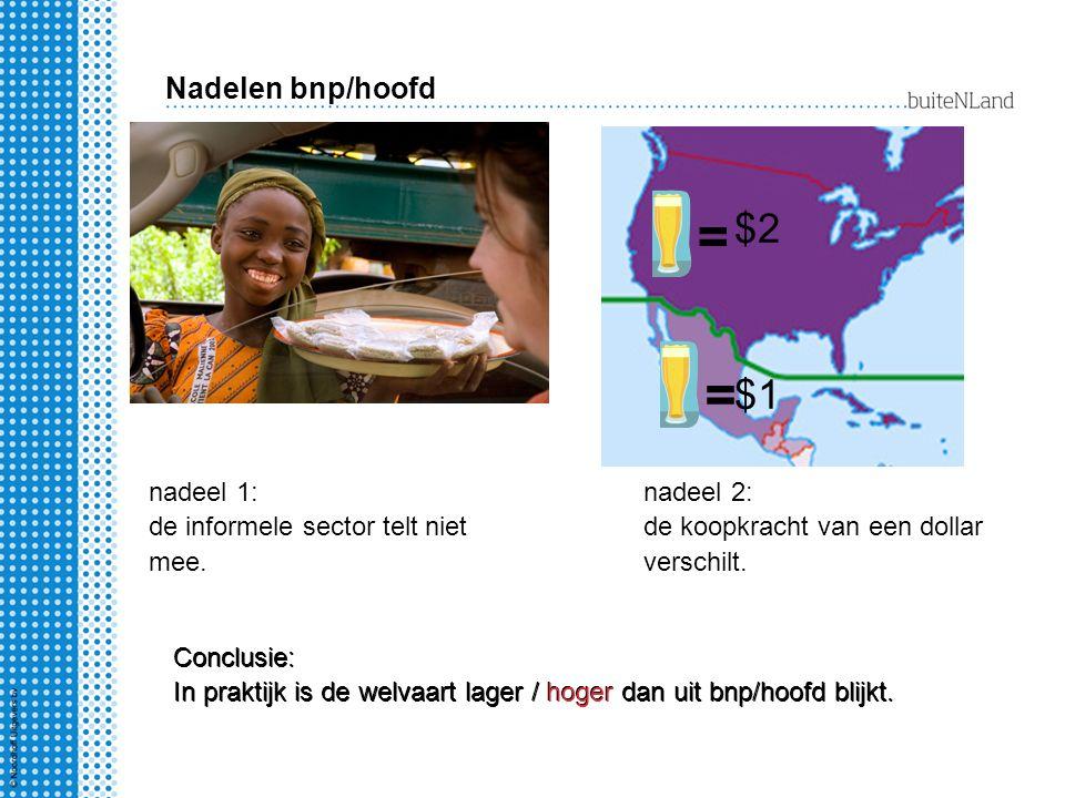nadeel 1: de informele sector telt niet mee. nadeel 2: de koopkracht van een dollar verschilt. Conclusie: In praktijk is de welvaart lager / hoger dan