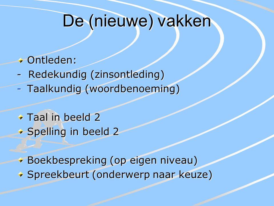 De (nieuwe) vakken Ontleden: - Redekundig (zinsontleding) -Taalkundig (woordbenoeming) Taal in beeld 2 Spelling in beeld 2 Boekbespreking (op eigen niveau) Spreekbeurt (onderwerp naar keuze)