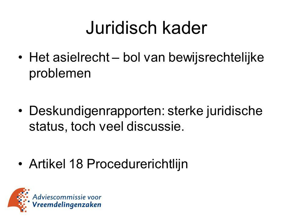 Juridisch kader Het asielrecht – bol van bewijsrechtelijke problemen Deskundigenrapporten: sterke juridische status, toch veel discussie. Artikel 18 P