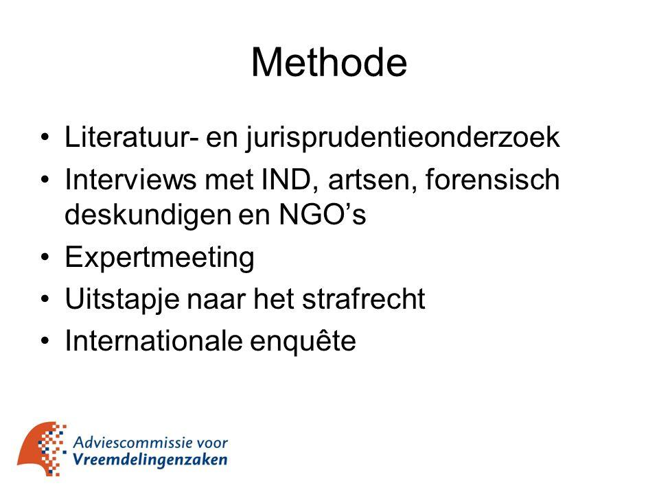 Methode Literatuur- en jurisprudentieonderzoek Interviews met IND, artsen, forensisch deskundigen en NGO's Expertmeeting Uitstapje naar het strafrecht