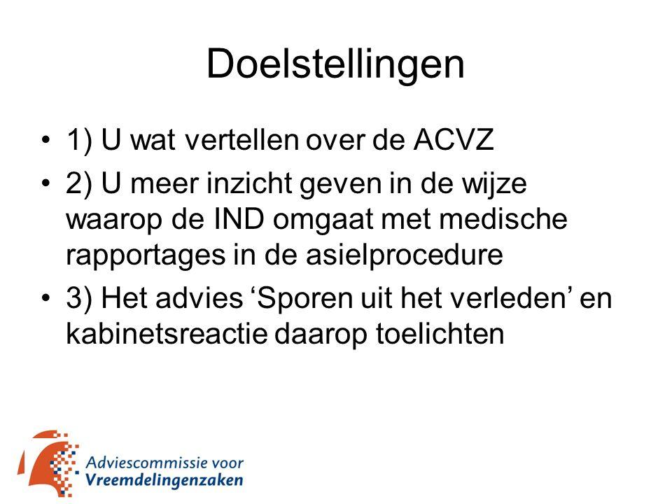 Doelstellingen 1) U wat vertellen over de ACVZ 2) U meer inzicht geven in de wijze waarop de IND omgaat met medische rapportages in de asielprocedure