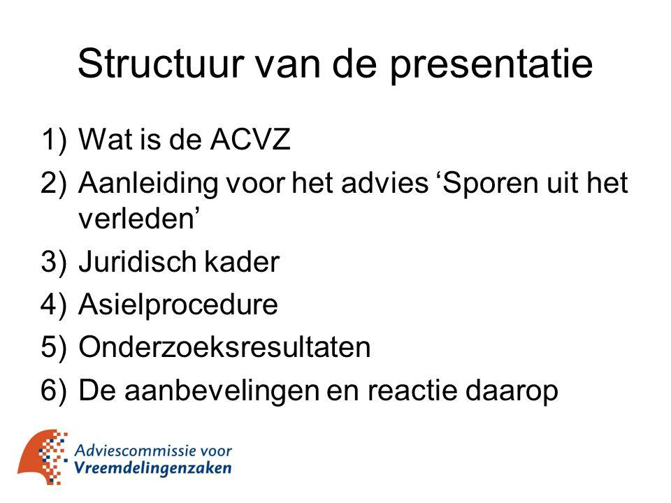 Structuur van de presentatie 1)Wat is de ACVZ 2)Aanleiding voor het advies 'Sporen uit het verleden' 3)Juridisch kader 4)Asielprocedure 5)Onderzoeksre