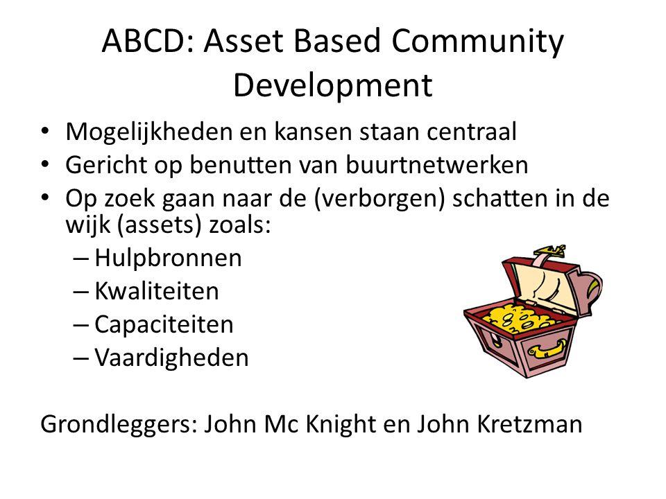 ABCD: Asset Based Community Development Mogelijkheden en kansen staan centraal Gericht op benutten van buurtnetwerken Op zoek gaan naar de (verborgen) schatten in de wijk (assets) zoals: – Hulpbronnen – Kwaliteiten – Capaciteiten – Vaardigheden Grondleggers: John Mc Knight en John Kretzman