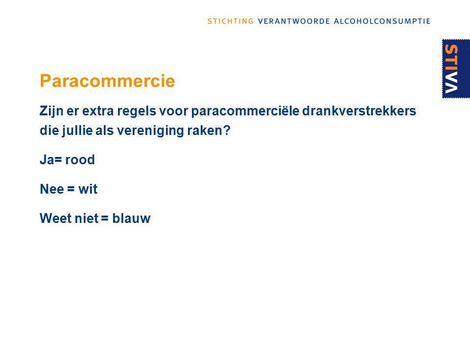 Paracommercie Zijn er extra regels voor paracommerciële drankverstrekkers die jullie als vereniging raken.