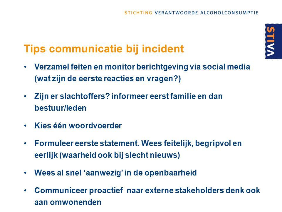 Tips communicatie bij incident Verzamel feiten en monitor berichtgeving via social media (wat zijn de eerste reacties en vragen ) Zijn er slachtoffers.