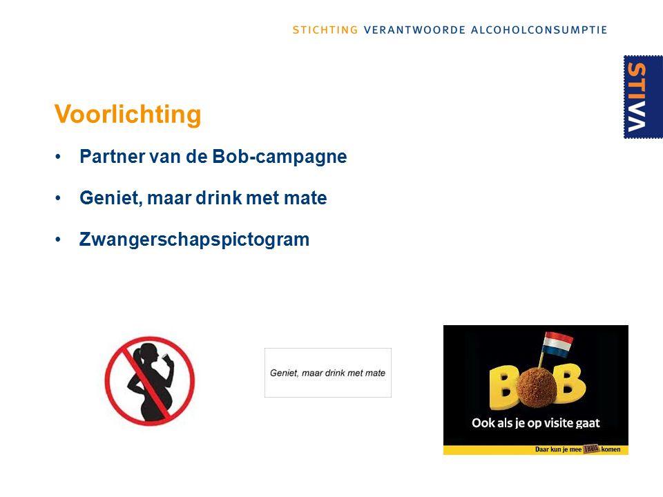 Voorlichting Partner van de Bob-campagne Geniet, maar drink met mate Zwangerschapspictogram