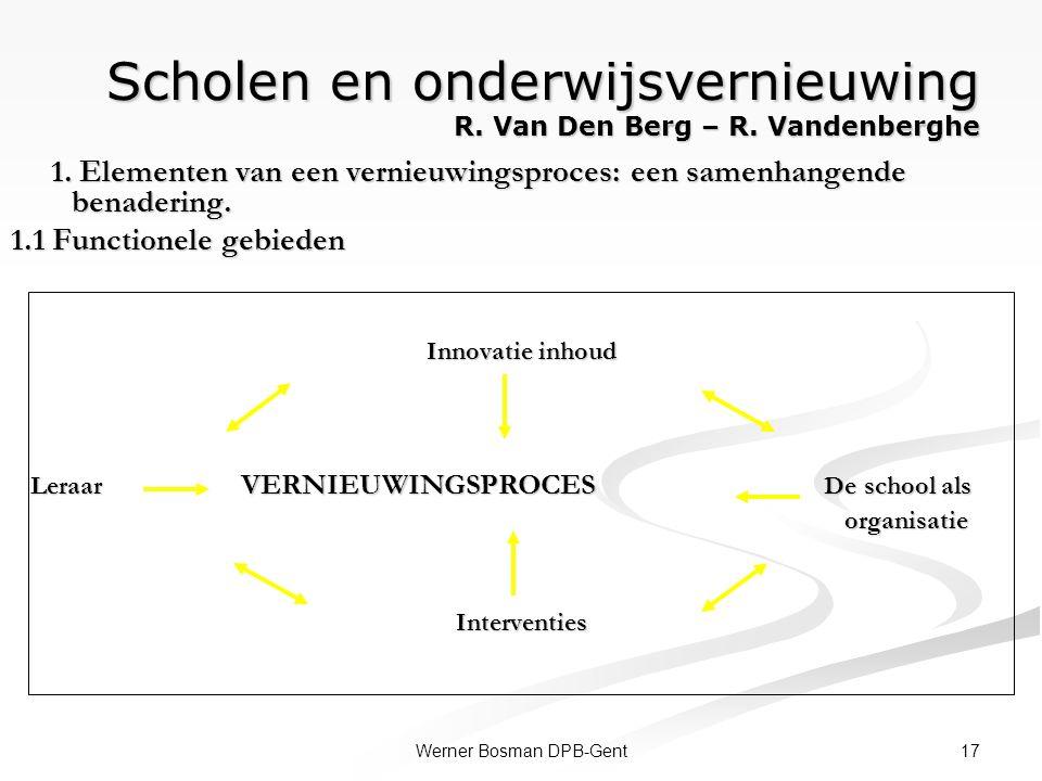 17Werner Bosman DPB-Gent Scholen en onderwijsvernieuwing R. Van Den Berg – R. Vandenberghe 1. Elementen van een vernieuwingsproces: een samenhangende