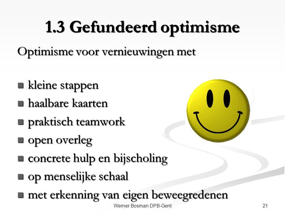21Werner Bosman DPB-Gent 1.3 Gefundeerd optimisme Optimisme voor vernieuwingen met kleine stappen kleine stappen haalbare kaarten haalbare kaarten pra