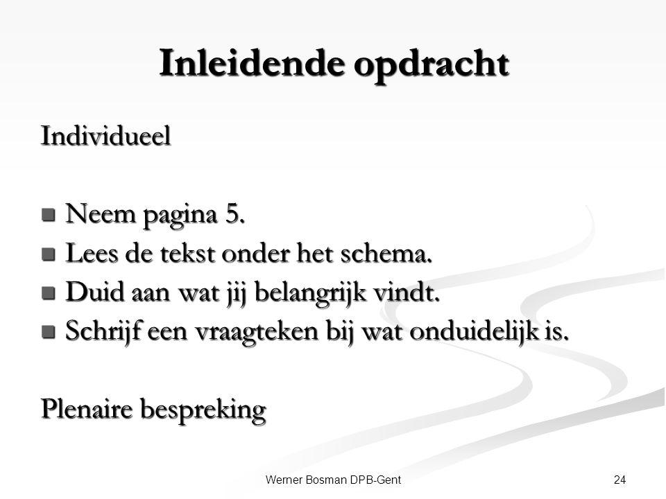 24Werner Bosman DPB-Gent Inleidende opdracht Individueel Neem pagina 5. Neem pagina 5. Lees de tekst onder het schema. Lees de tekst onder het schema.