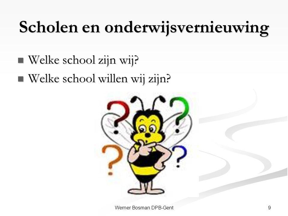 Scholen en onderwijsvernieuwing Welke school zijn wij? Welke school zijn wij? Welke school willen wij zijn? Welke school willen wij zijn? 9Werner Bosm
