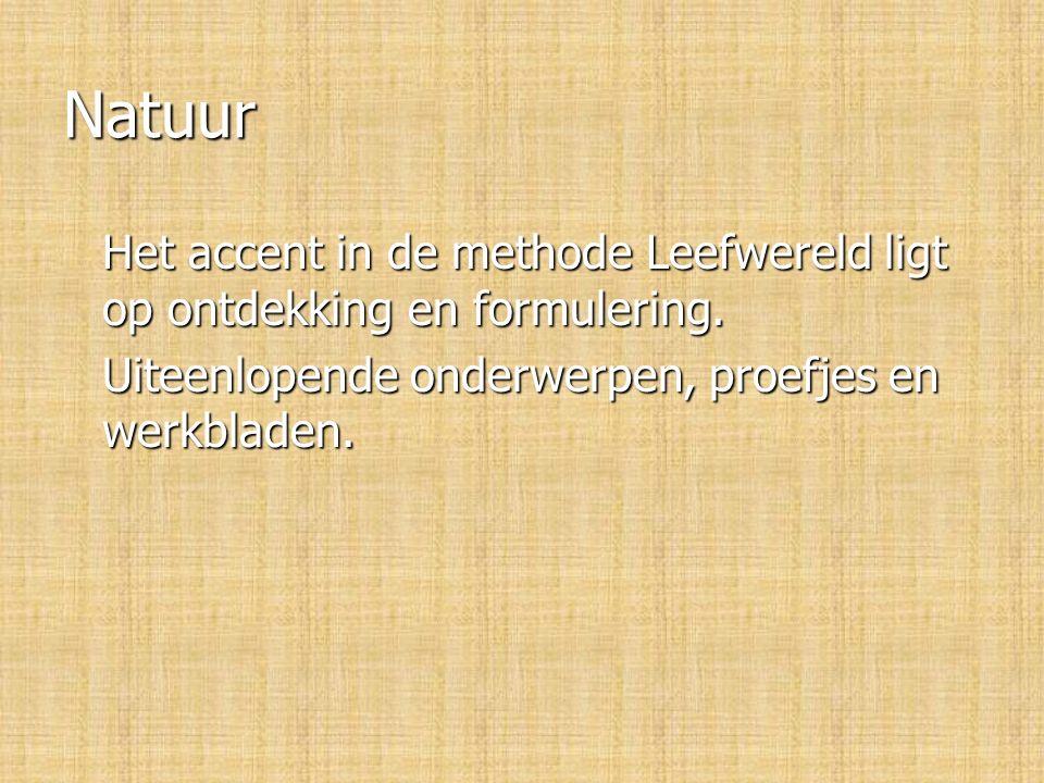 Natuur Het accent in de methode Leefwereld ligt op ontdekking en formulering.