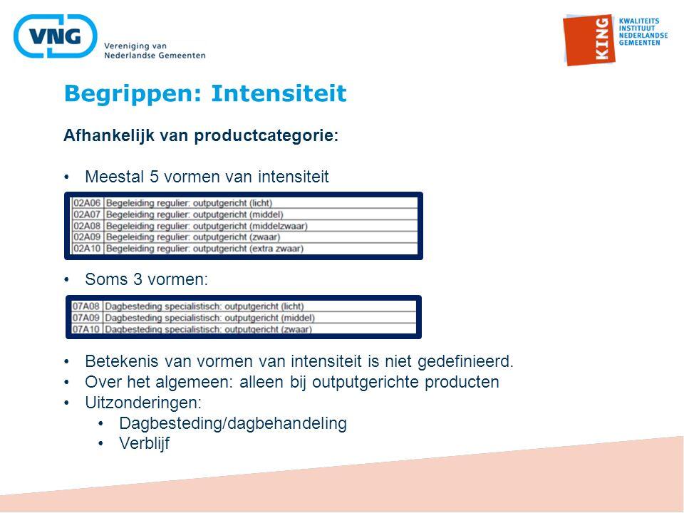 Begrippen: Intensiteit Afhankelijk van productcategorie: Meestal 5 vormen van intensiteit Soms 3 vormen: Betekenis van vormen van intensiteit is niet