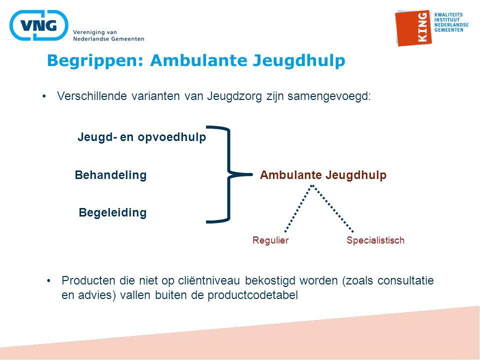 Begrippen: Ambulante Jeugdhulp Jeugd- en opvoedhulp Behandeling Begeleiding Ambulante Jeugdhulp RegulierSpecialistisch Producten die niet op cliëntniv