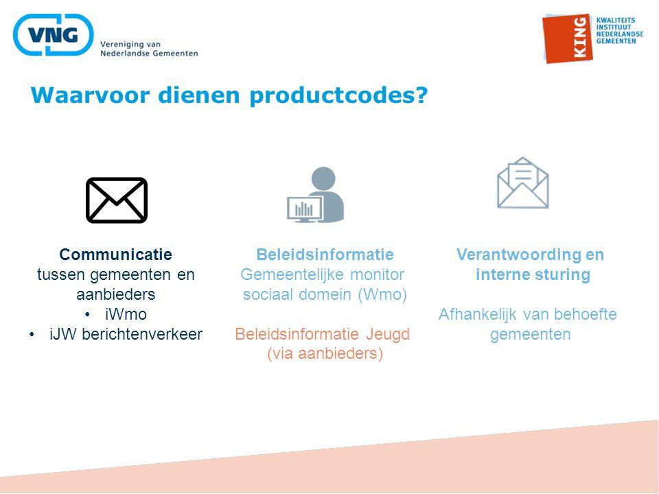 Waarvoor dienen productcodes? Communicatie tussen gemeenten en aanbieders iWmo iJW berichtenverkeer Beleidsinformatie Gemeentelijke monitor sociaal do