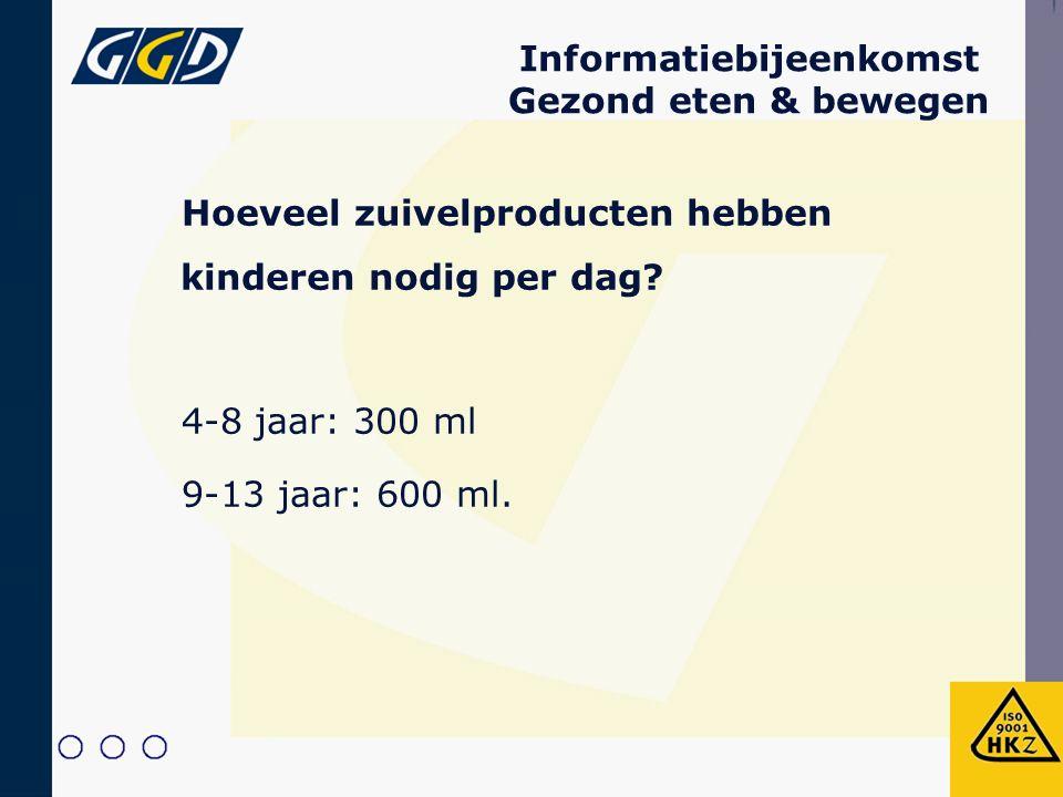 Informatiebijeenkomst Gezond eten & bewegen Hoeveel zuivelproducten hebben kinderen nodig per dag? 4-8 jaar:300 ml 9-13 jaar: 600 ml.