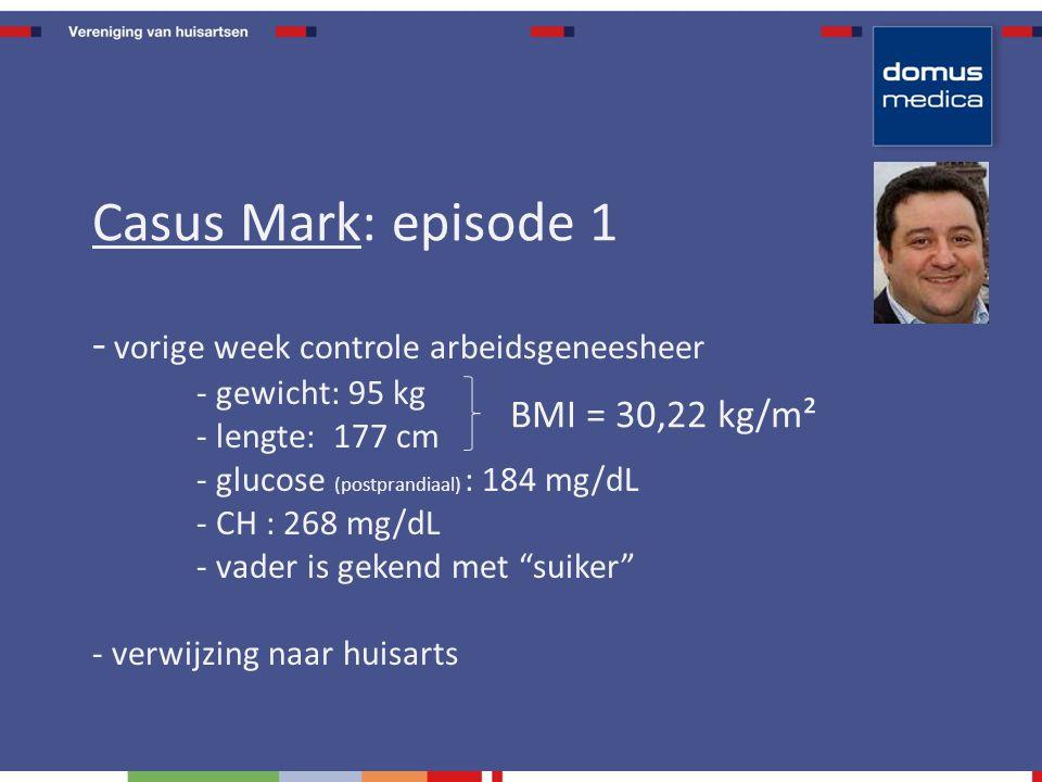 - vorige week controle arbeidsgeneesheer - gewicht: 95 kg - lengte: 177 cm - glucose (postprandiaal) : 184 mg/dL - CH : 268 mg/dL - vader is gekend met suiker - verwijzing naar huisarts Casus Mark: episode 1 BMI = 30,22 kg/m²