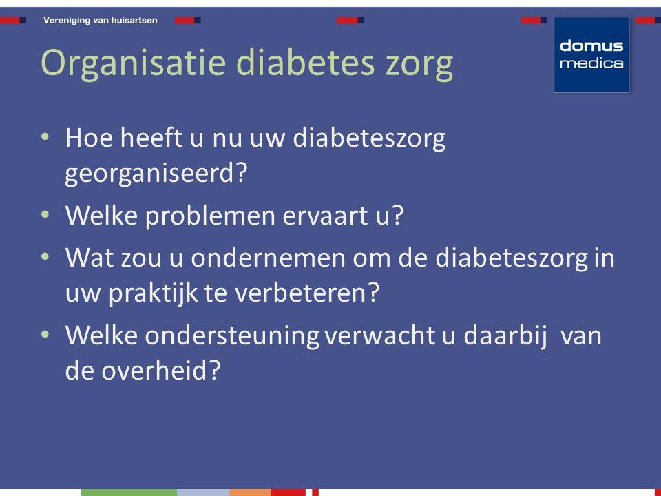 Organisatie diabetes zorg Hoe heeft u nu uw diabeteszorg georganiseerd.
