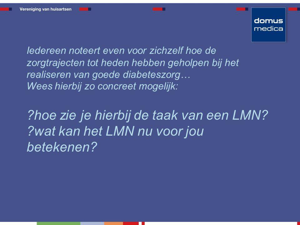 hoe zie je hierbij de taak van een LMN. wat kan het LMN nu voor jou betekenen.