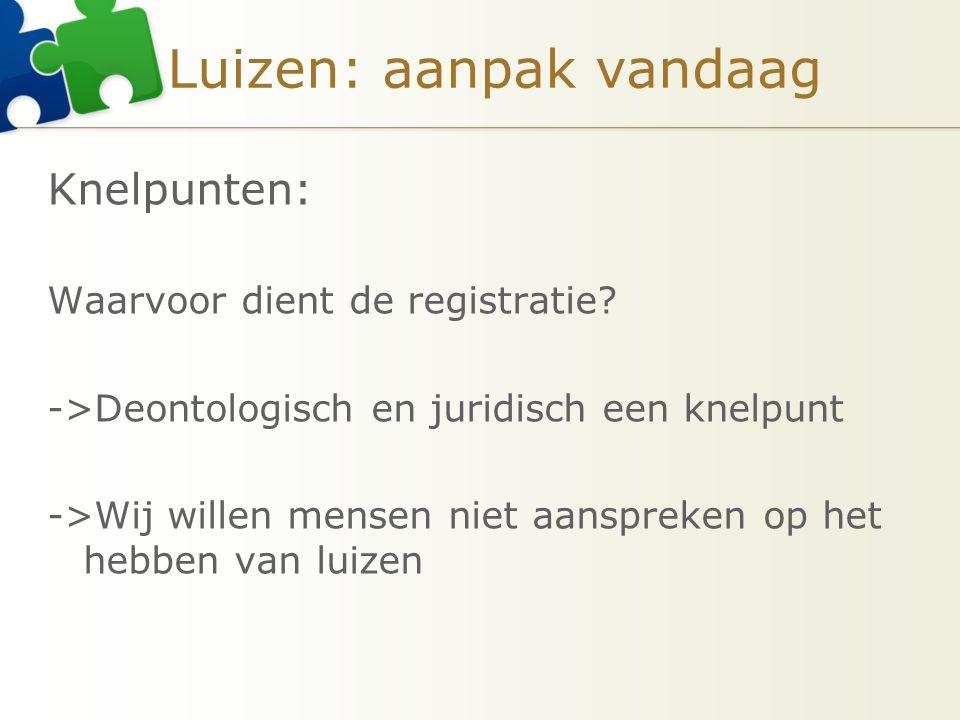 Luizen: aanpak vandaag Knelpunten: Waarvoor dient de registratie? ->Deontologisch en juridisch een knelpunt ->Wij willen mensen niet aanspreken op het
