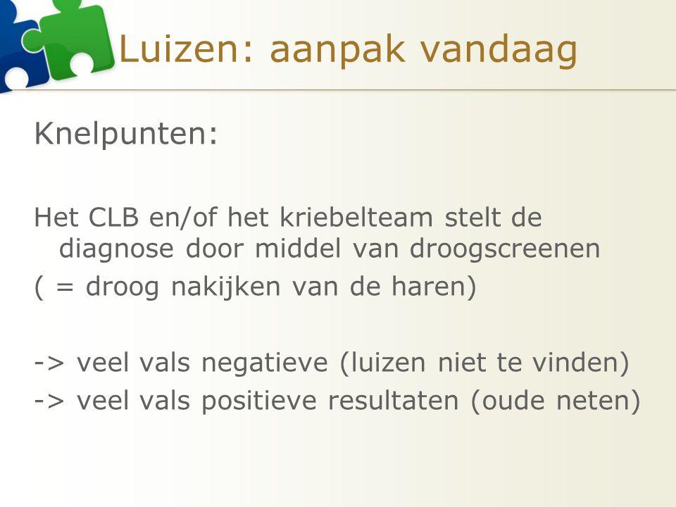 Luizen: aanpak vandaag Knelpunten: Het CLB en/of het kriebelteam stelt de diagnose door middel van droogscreenen ( = droog nakijken van de haren) -> v
