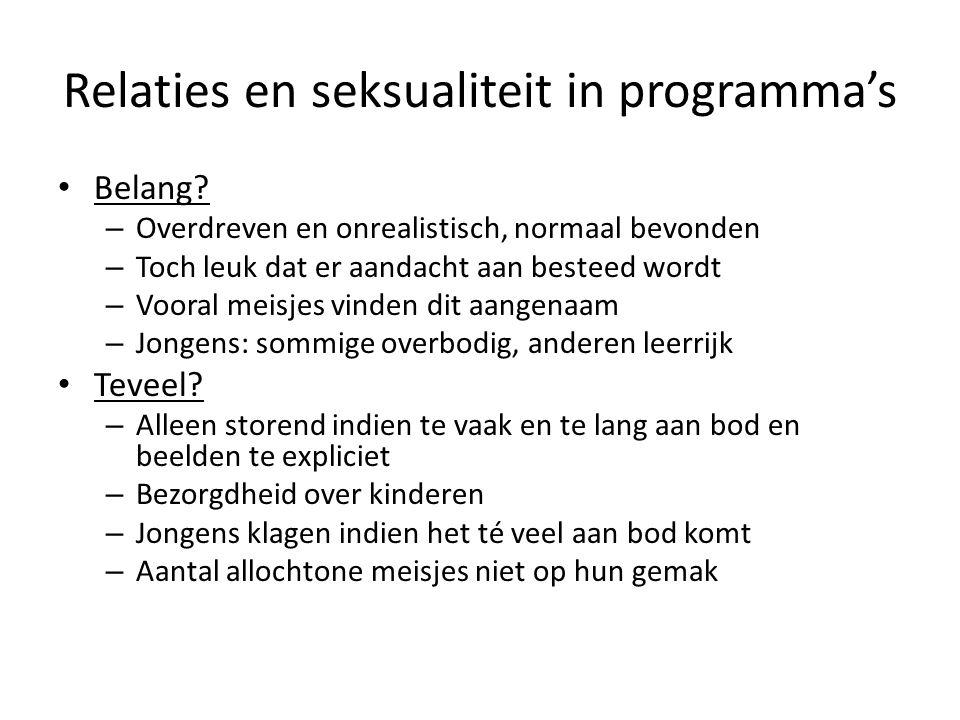 Relaties en seksualiteit in programma's Belang.