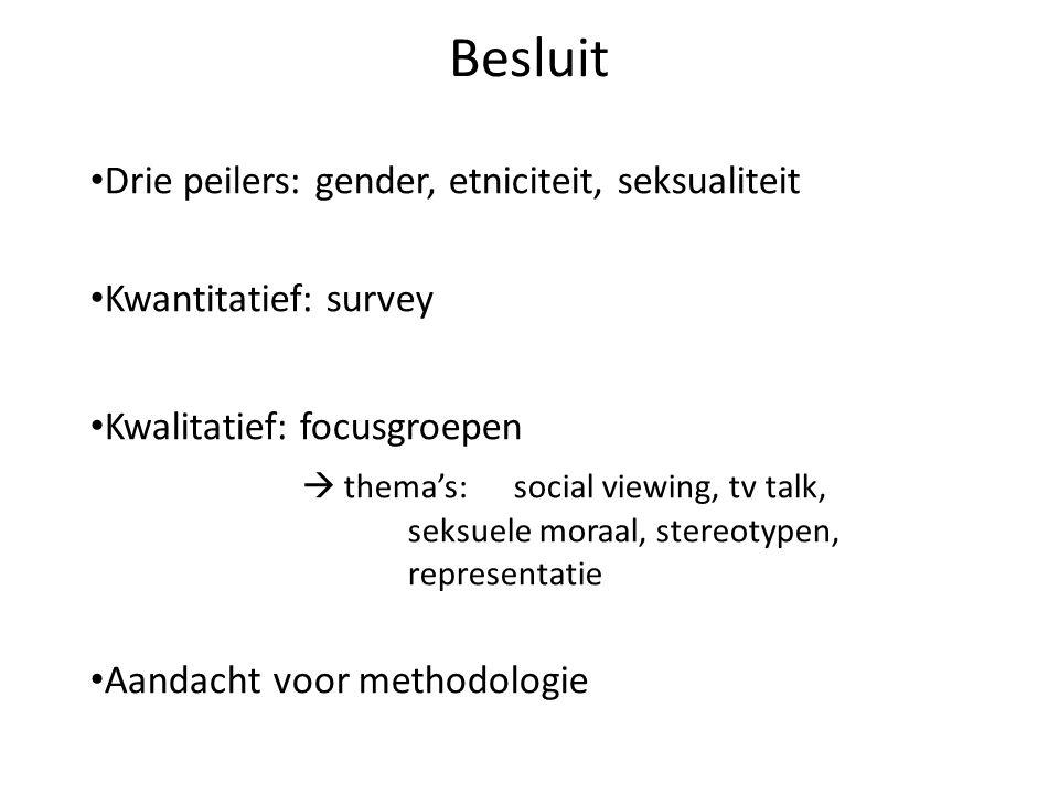 Drie peilers: gender, etniciteit, seksualiteit Kwantitatief: survey Kwalitatief: focusgroepen  thema's:social viewing, tv talk, seksuele moraal, stereotypen, representatie Aandacht voor methodologie