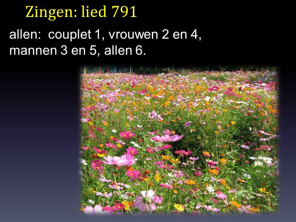Zingen: lied 791 allen: couplet 1, vrouwen 2 en 4, mannen 3 en 5, allen 6.