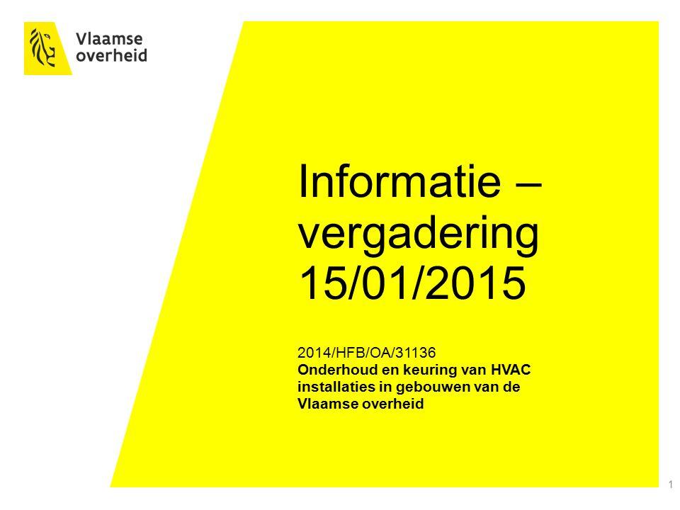 2 Informatievergadering Het Facilitair Bedrijf Disclaimer : De huidige slides zijn enkel een samenvatting van de voornaamste clausules van het bestek met referentie 2014/HFB/OA/31136 en zijn dus onvolledig.