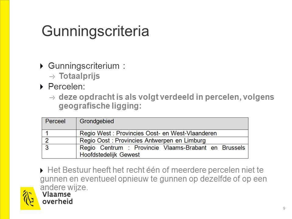 9 Gunningscriteria Gunningscriterium : Totaalprijs Percelen: deze opdracht is als volgt verdeeld in percelen, volgens geografische ligging: Het Bestuu