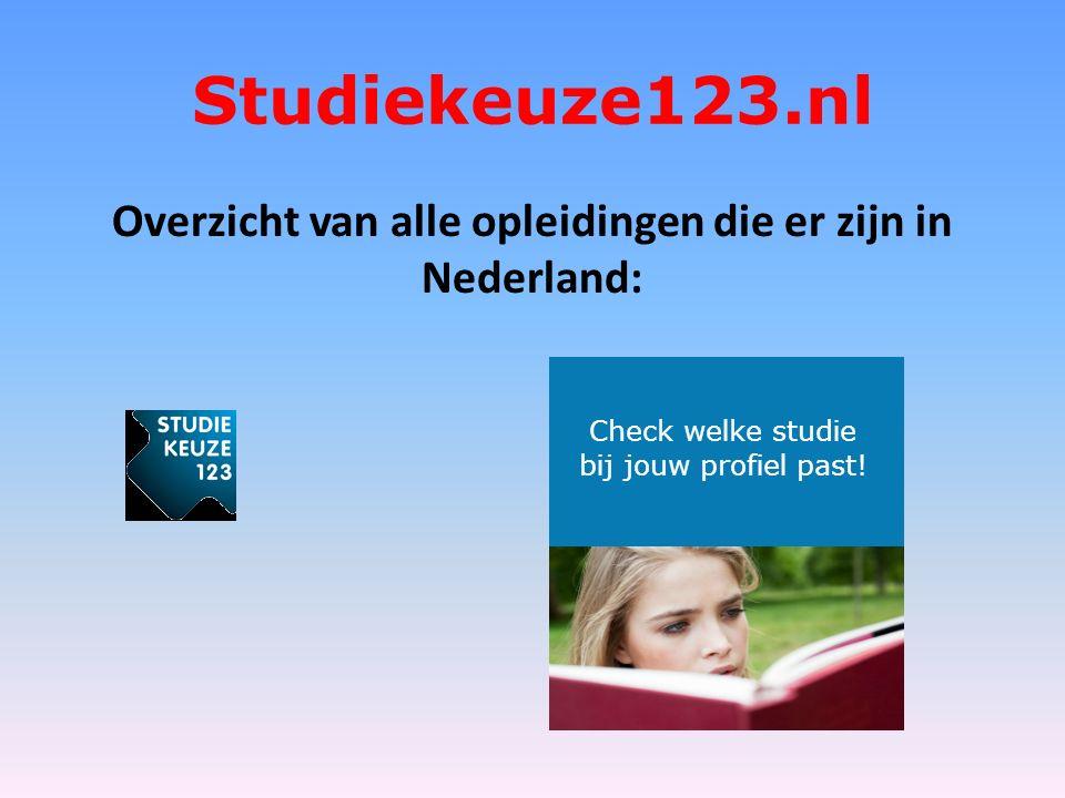 Studiekeuze123.nl Overzicht van alle opleidingen die er zijn in Nederland: