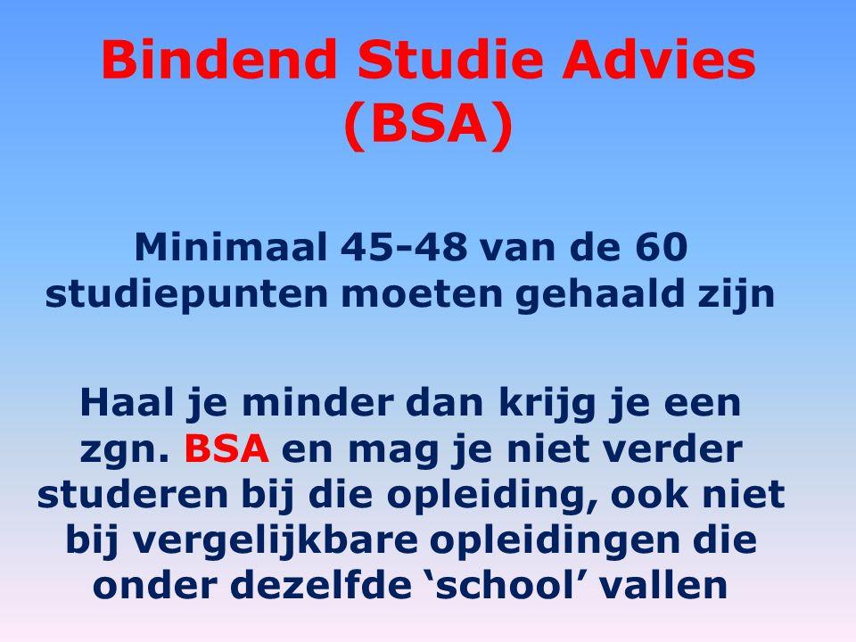 Bindend Studie Advies (BSA) Minimaal 45-48 van de 60 studiepunten moeten gehaald zijn Haal je minder dan krijg je een zgn.