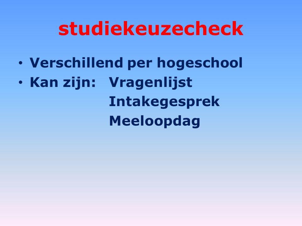 studiekeuzecheck Verschillend per hogeschool Kan zijn:Vragenlijst Intakegesprek Meeloopdag